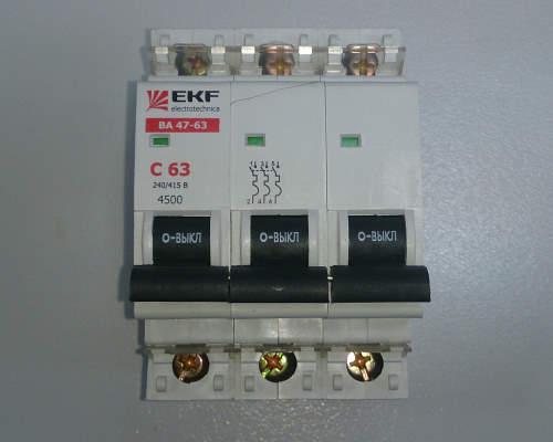 Автоматический выключатель 3п 63А С 4,5кА EKF