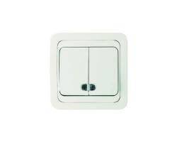 Выключатель LEDARD 8616 (2 кл, скр/пр, с инд)