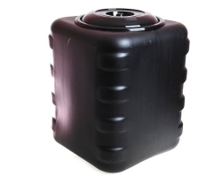 Бак пластм. 150л квадр. для душа черный М6463