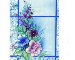 Клеенка КОЛОРИТ ПВХ 1,3м 011/1 цветы на гол.плитки