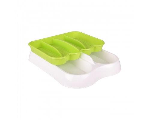 Лоток для столовых приборов бел-зел. М6005