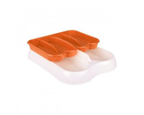 Лоток для столовых приборов бел-оранж. М6007