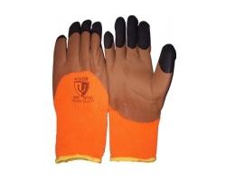 Перчатки утепленные оранжевые с КОРИЧН. обливом