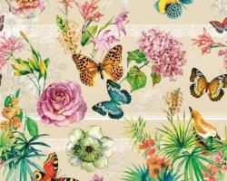 Клеенка DEKORAMA 1,4м 009В бабочки на бежевом