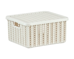 Коробка Вязание 6,0л с кр. Белый ротанг 2370 IDEA