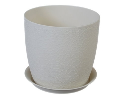 Кашпо Верона Д180мм 3,0л белый ротанг 3097 IDEA