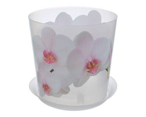 Кашпо Деко Д160мм 2,4л Орхидея белая 3106 IDEA