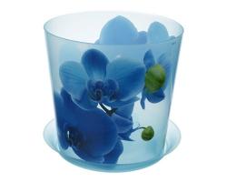 Кашпо Деко Д160мм 2,4л Орхидея голубая 3106 IDEA